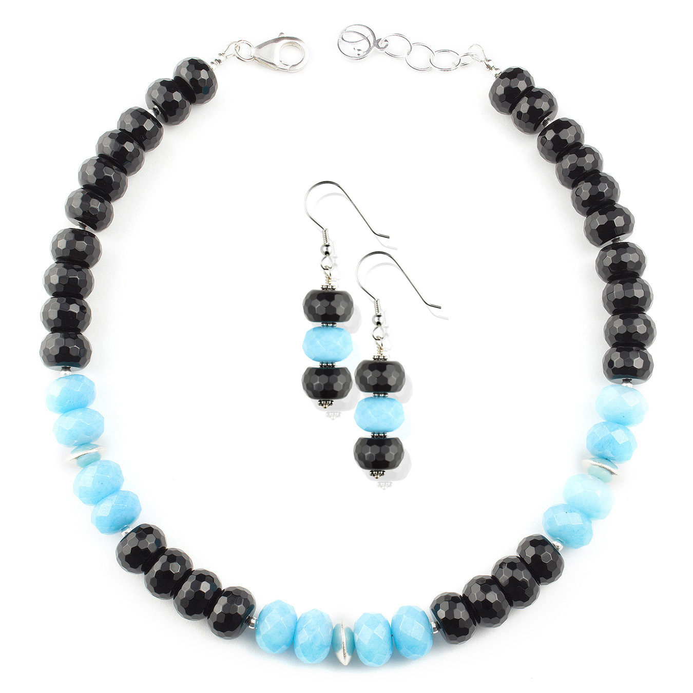 Create your own necklace with black, blue, pink and orange jade