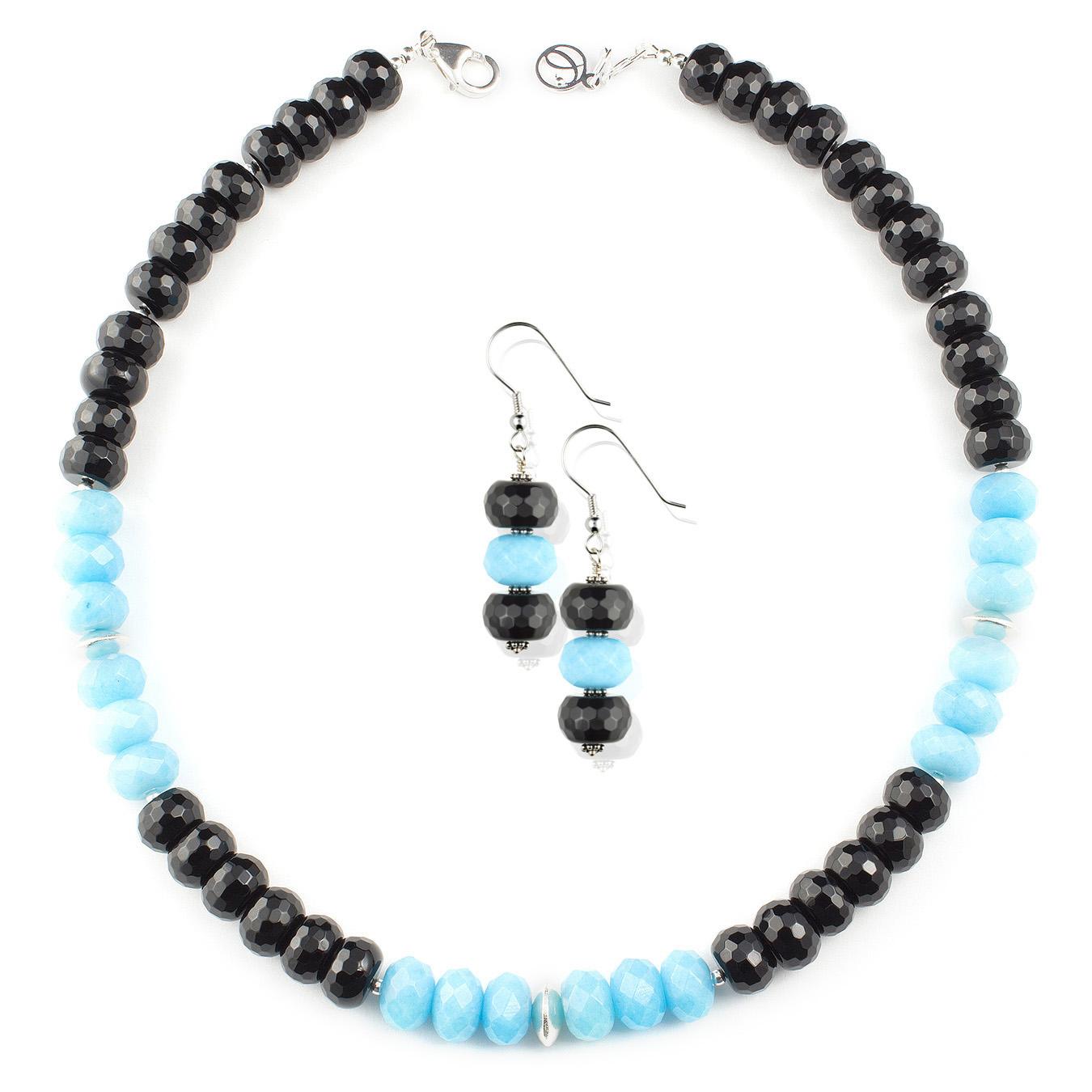 Custom necklace made with using black, pink and orange jade gemstones