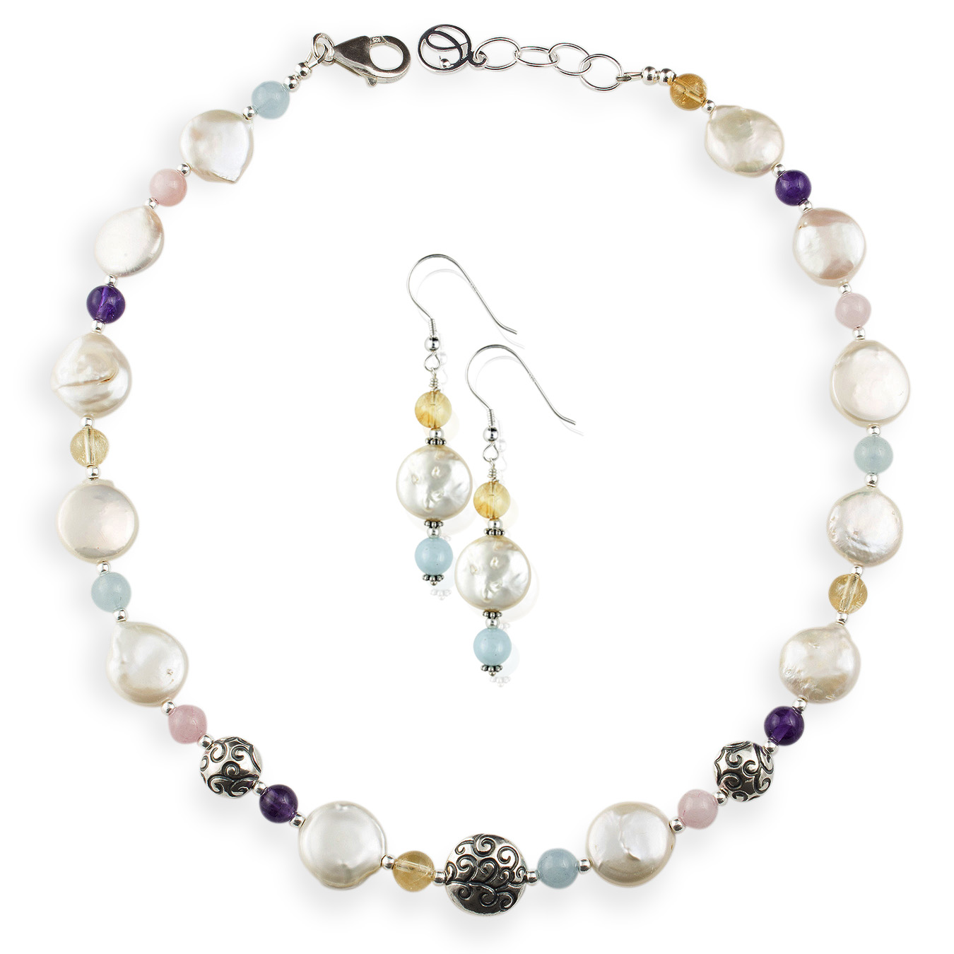 Create your own necklace with choice of coin pearls and rose quartz