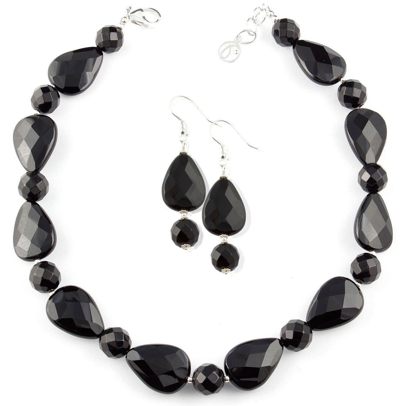 Handcrafted choker style bead jewelry made with faceted black agate