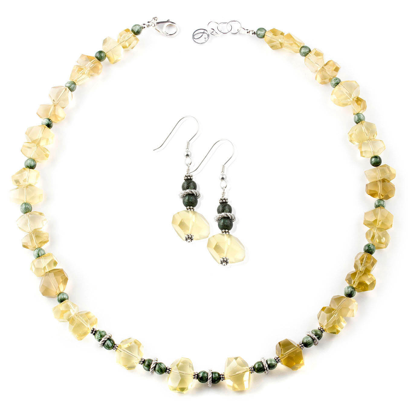 Handmade statement jewelry made with lemon quartz and seraphinite