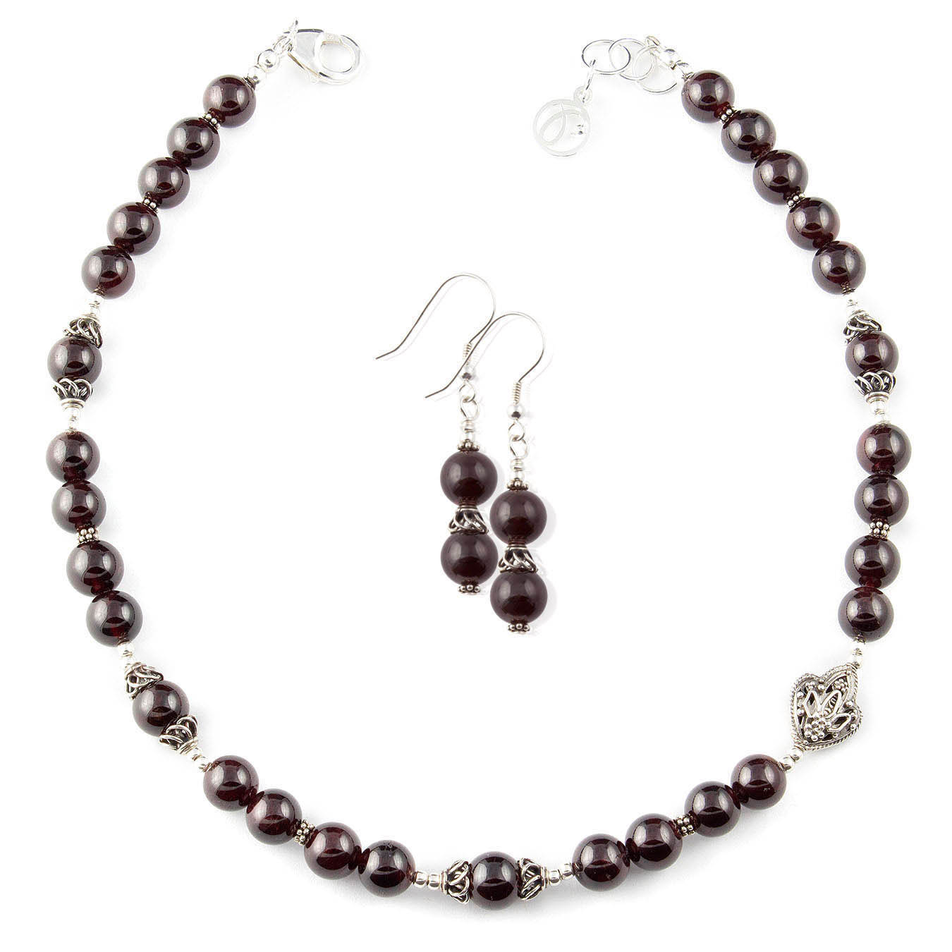 Handcrafted birthstone necklace with garnet and filigree bali silver