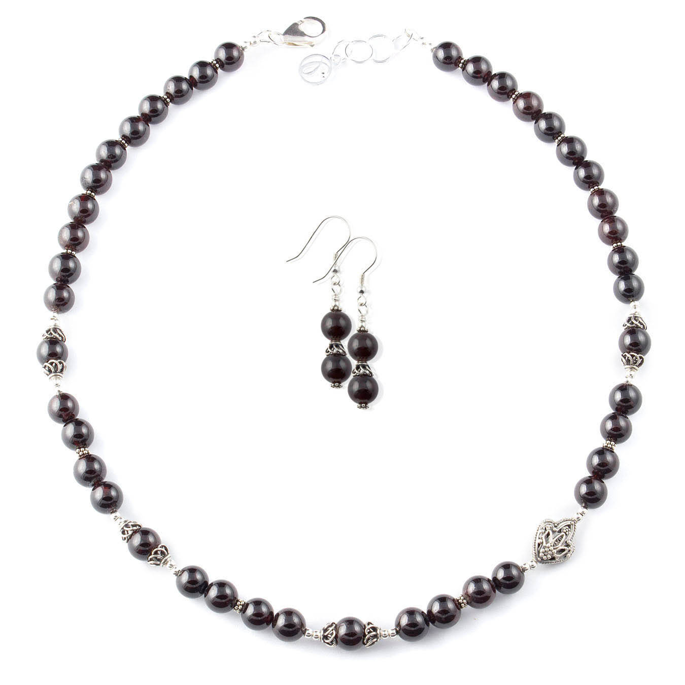 Beaded birthstone jewelry necklace made with garnet and bali silver