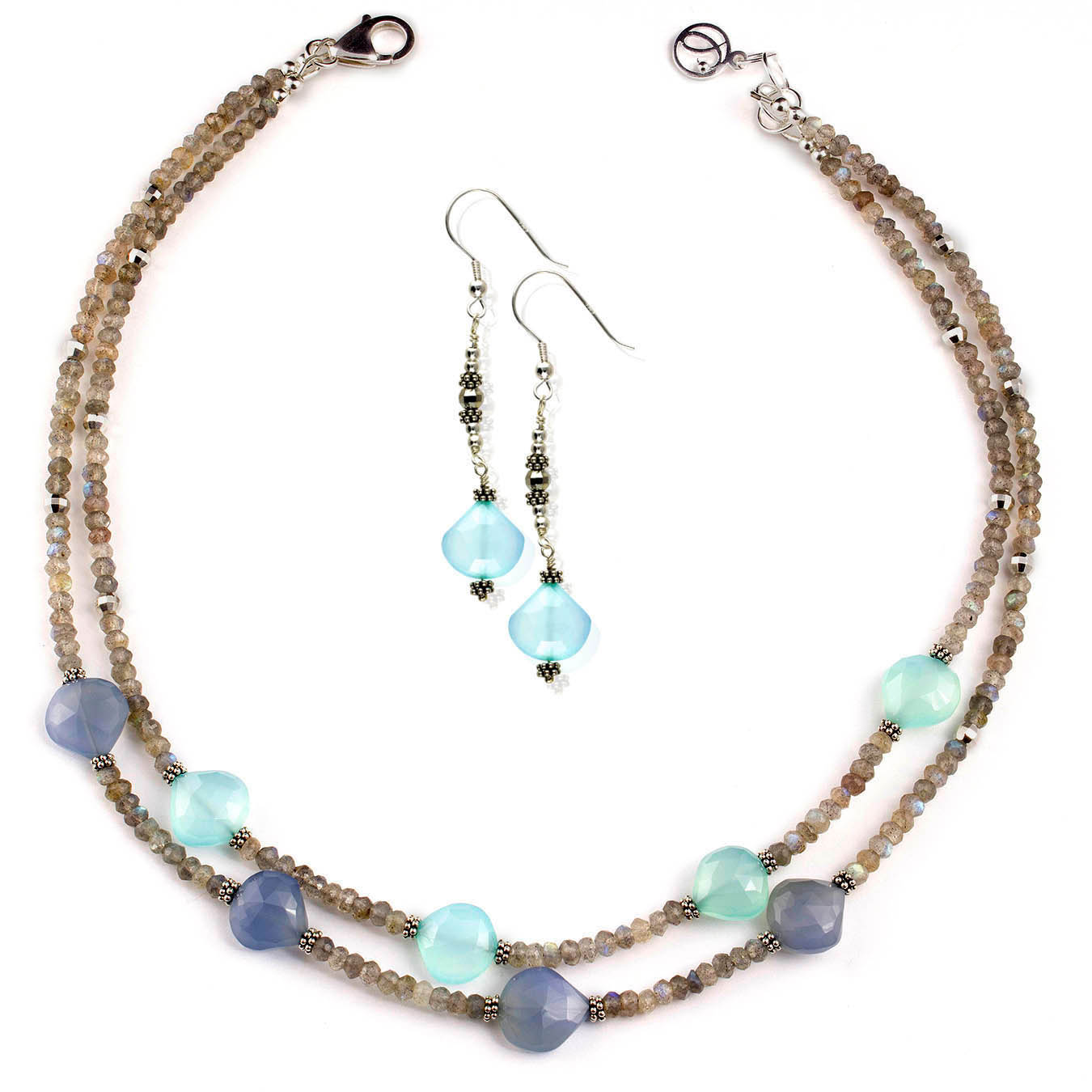 Handcrafted labradorite and chalcedony double strand station necklace