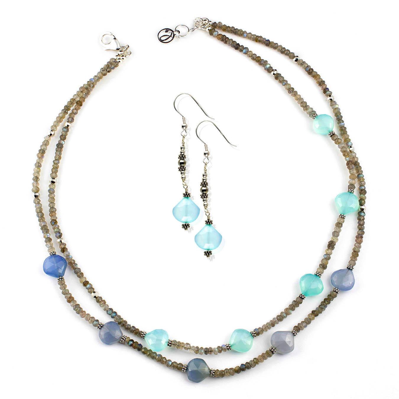 Artisan beaded jewelry made of labradorite and chalcedony gemstones