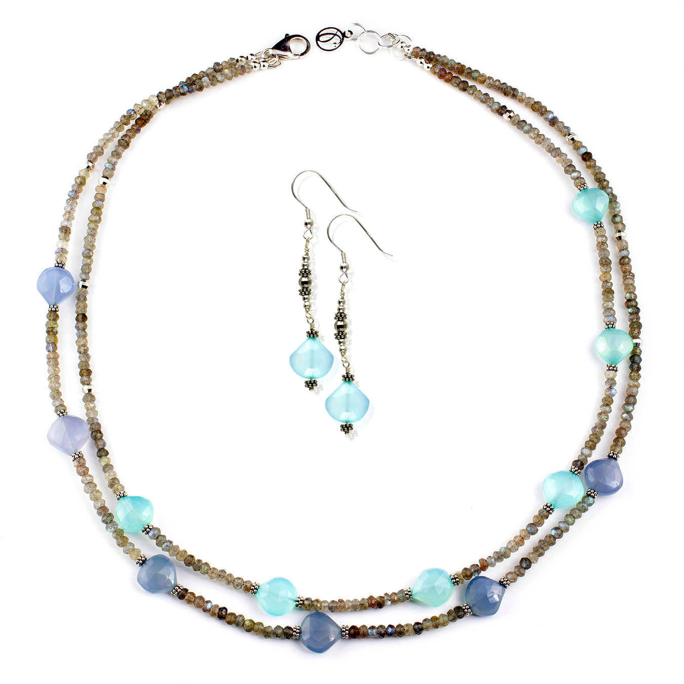 Labradorite and chalcedony semi-precious stones handmade necklace
