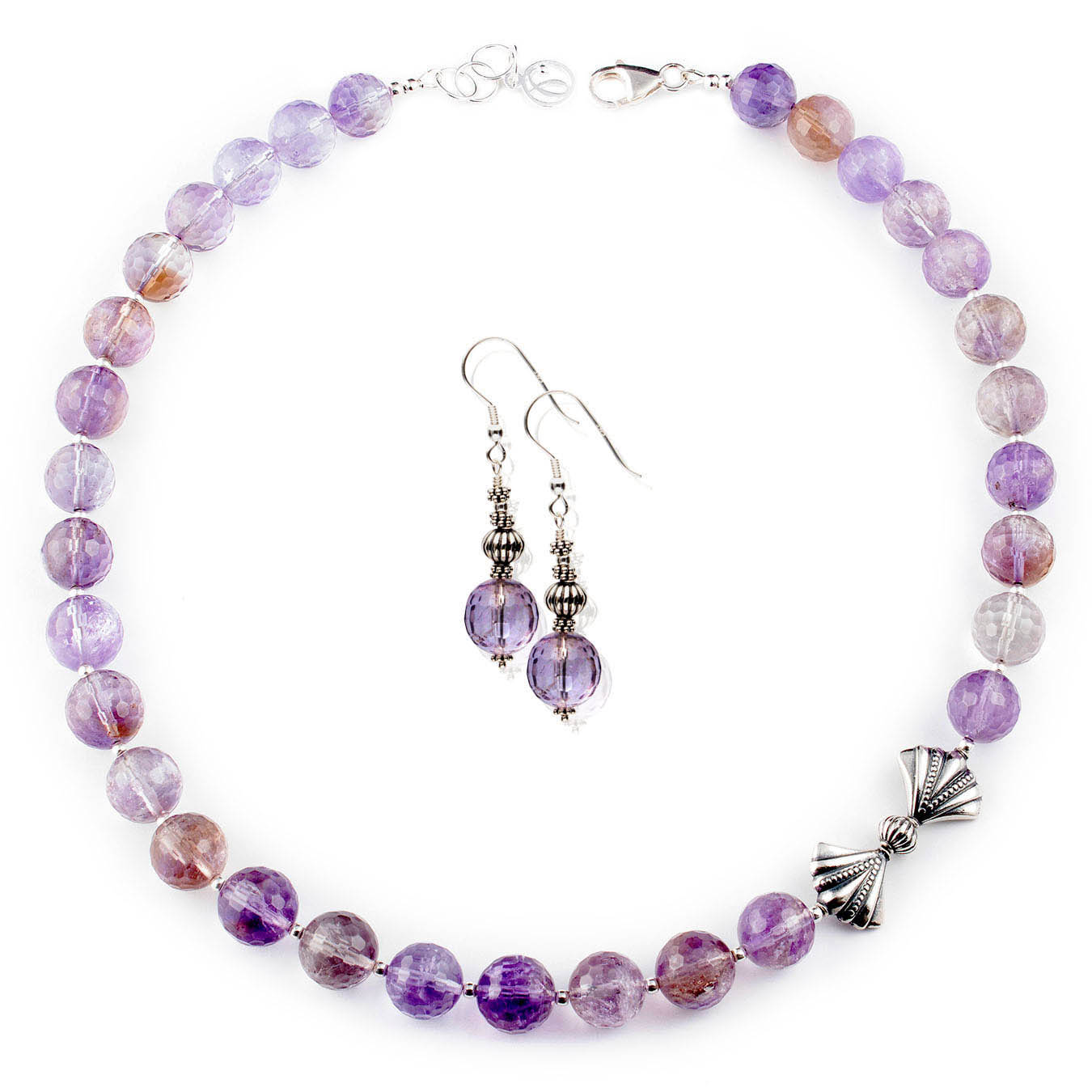 Artisan beaded jewelry necklace made with ametrine and bali silver