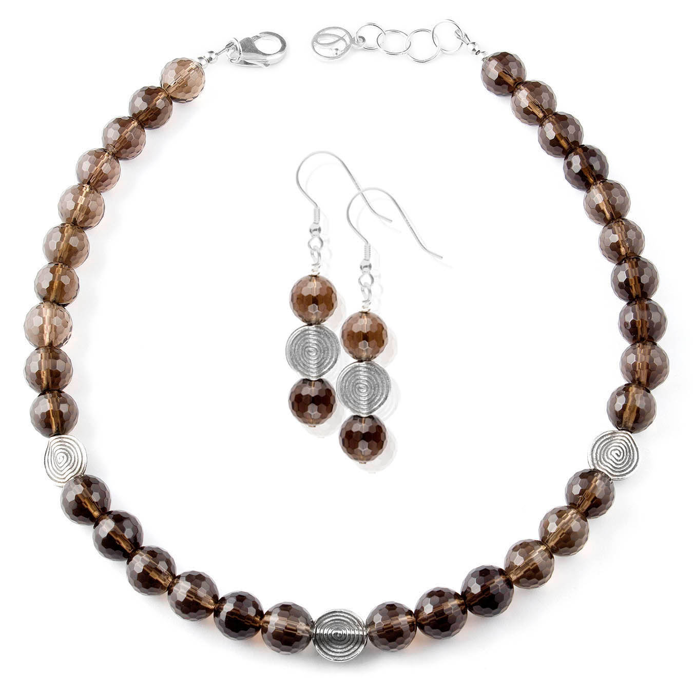 Handcrafted bead jewelry made with smoky quartz and thai silver