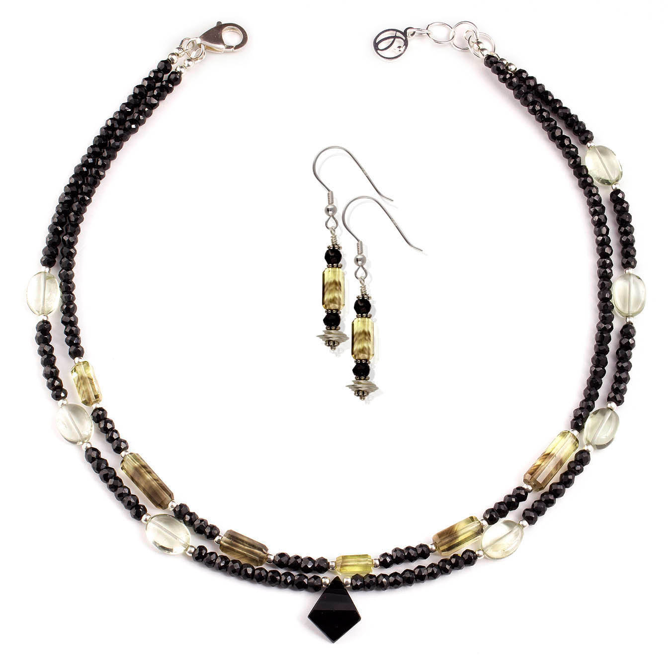Handcrafted jewelry made with spinel, lemon quartz and green amethyst