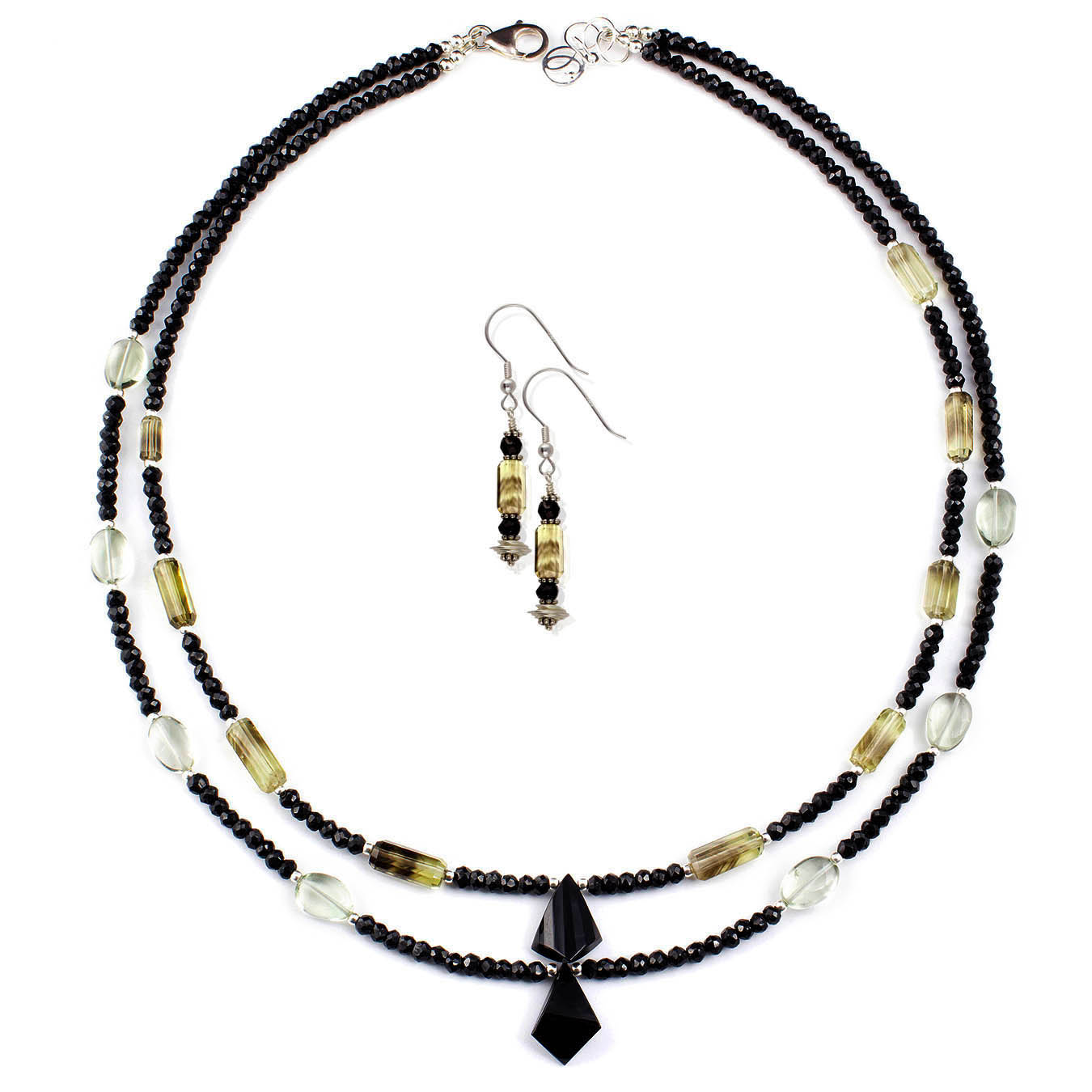 Artisan crafted jewelry made with spinel, quartz and green amethyst