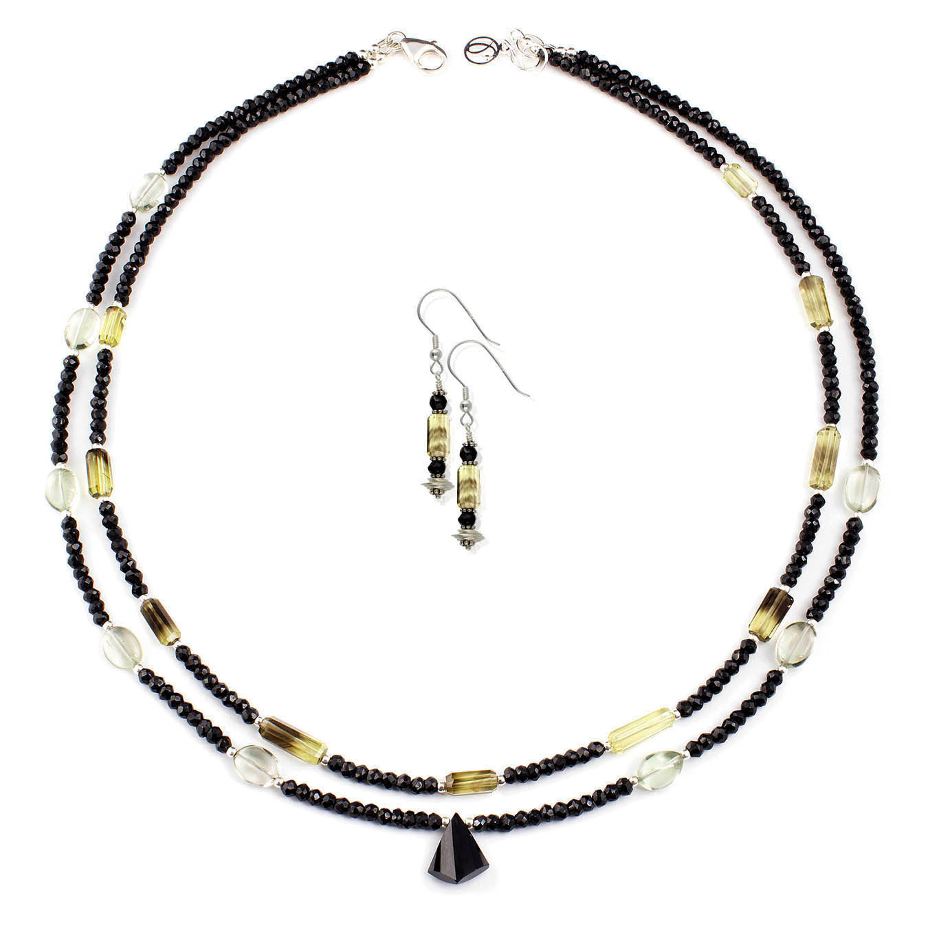 Gemstone handmade necklace made of spinel, quartz and green amethyst