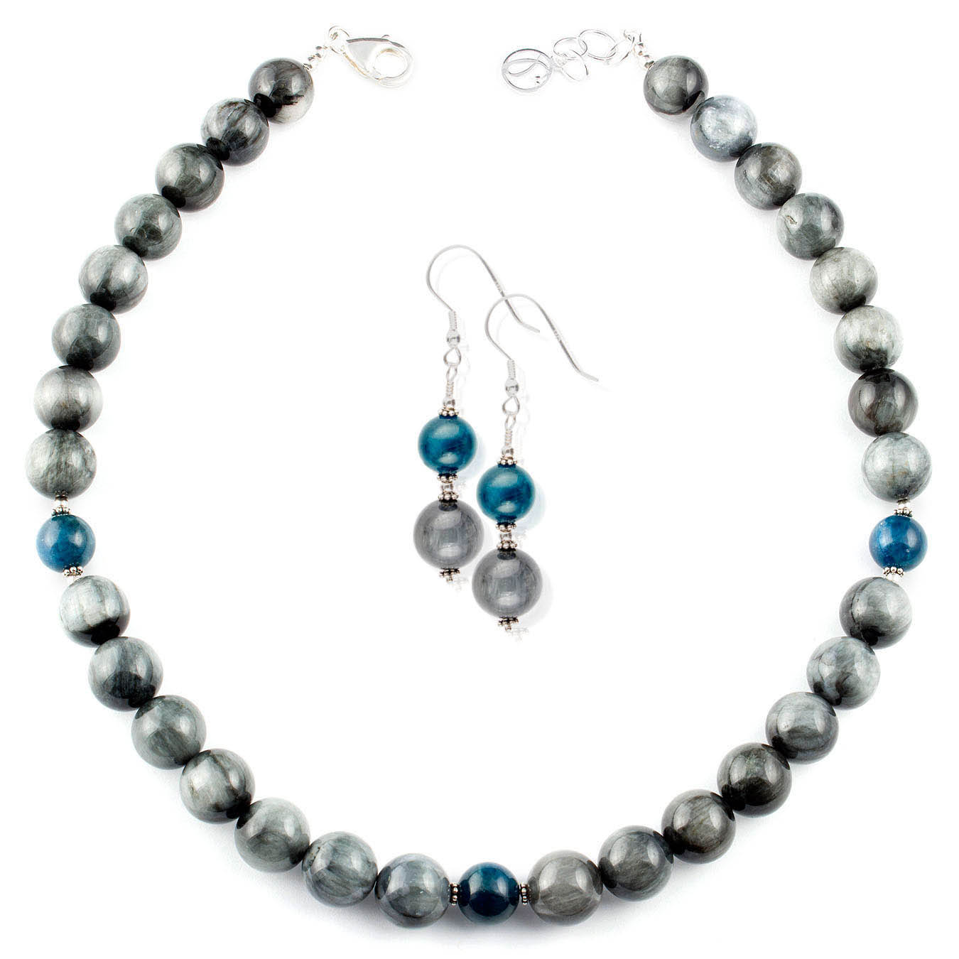 Station necklace set made with Hawks Eye and Apatite gemstones