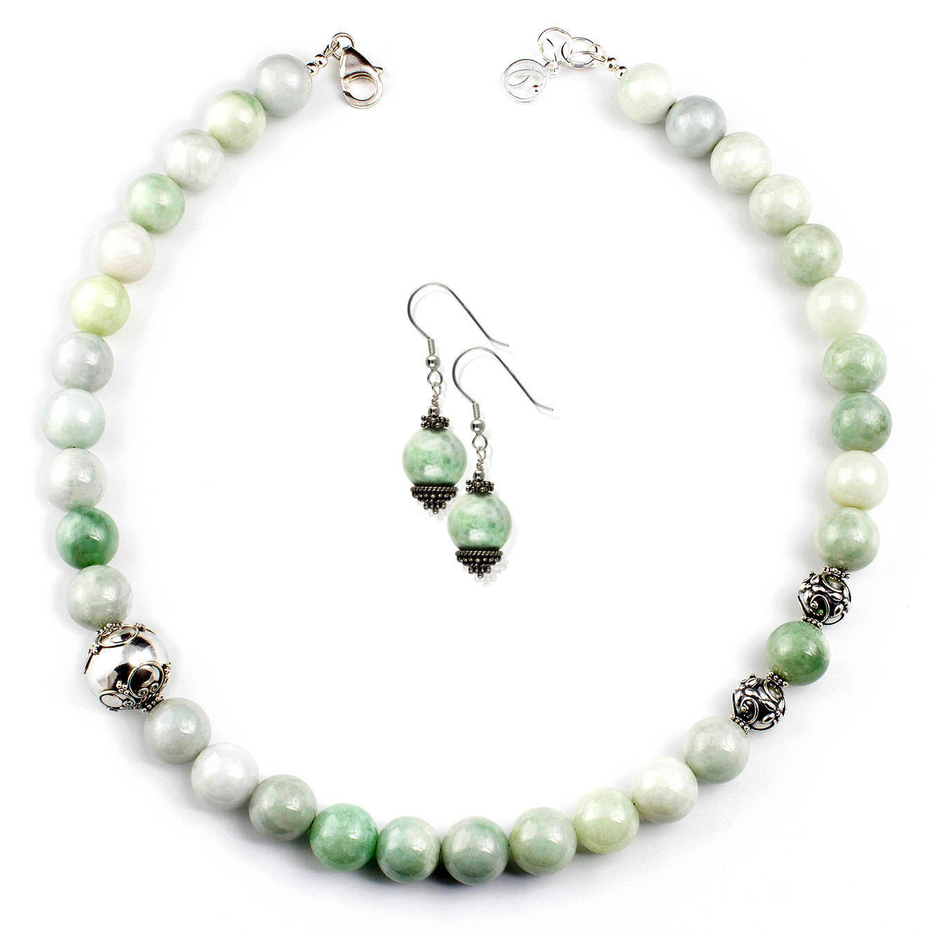 Beaded jewelry necklace made of Burma Jade gemstones and Bali silver