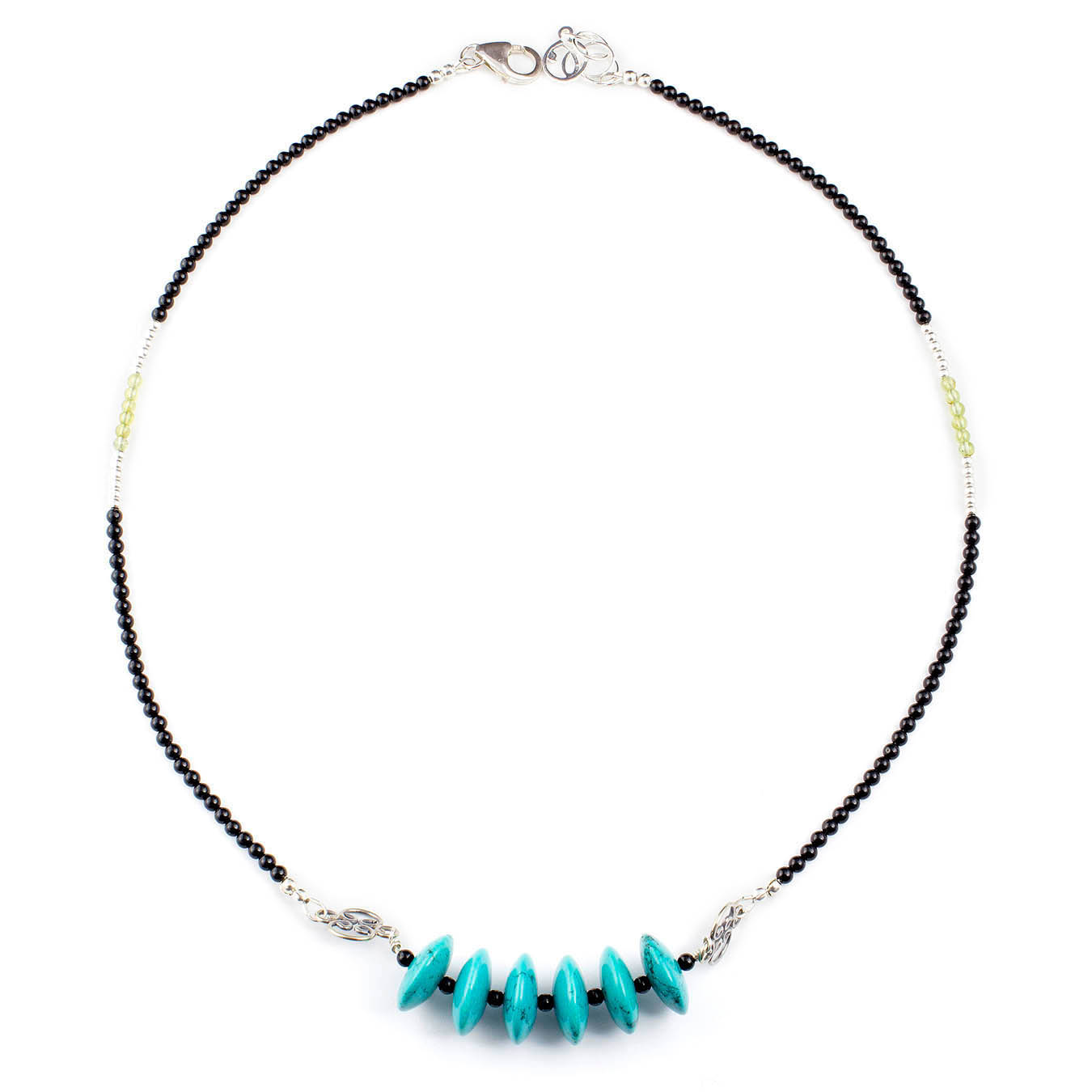 Handmade collar jewelry necklace made of turquoise, peridot and bali