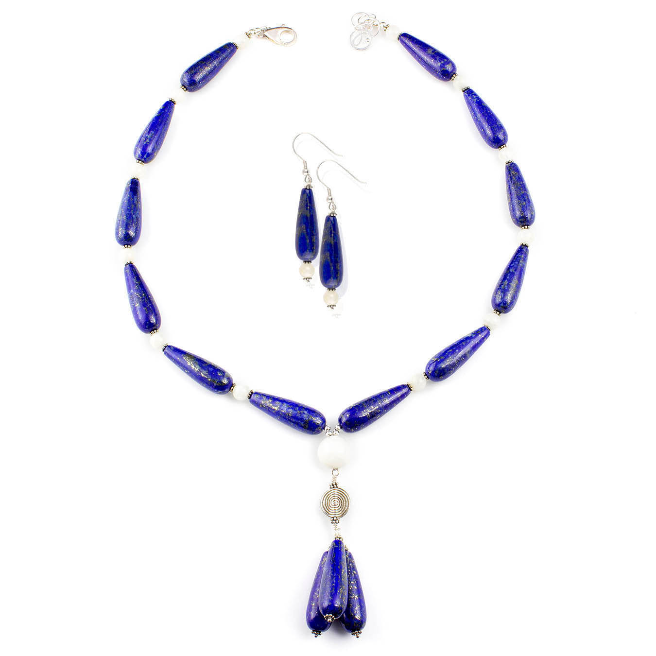 Beaded jewelry birthstone necklace made of moonstone and lapis lazuli