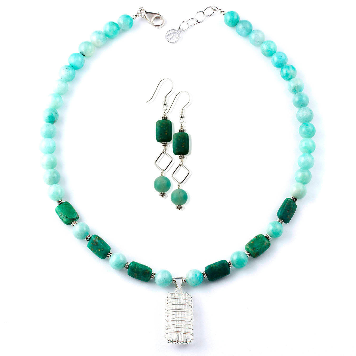 Semi-precious beaded jewelry set made with chrysocolla and amazonite