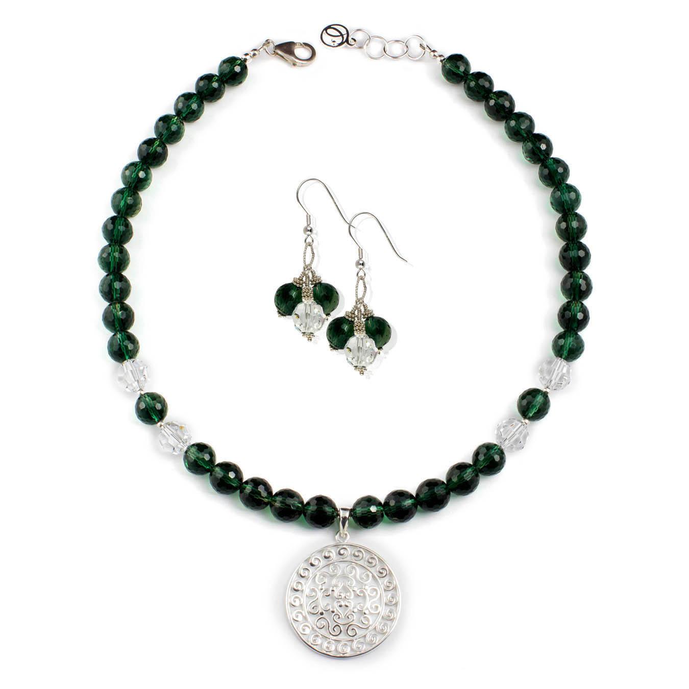 Silver pendant necklace set made with green quartz and swarovski