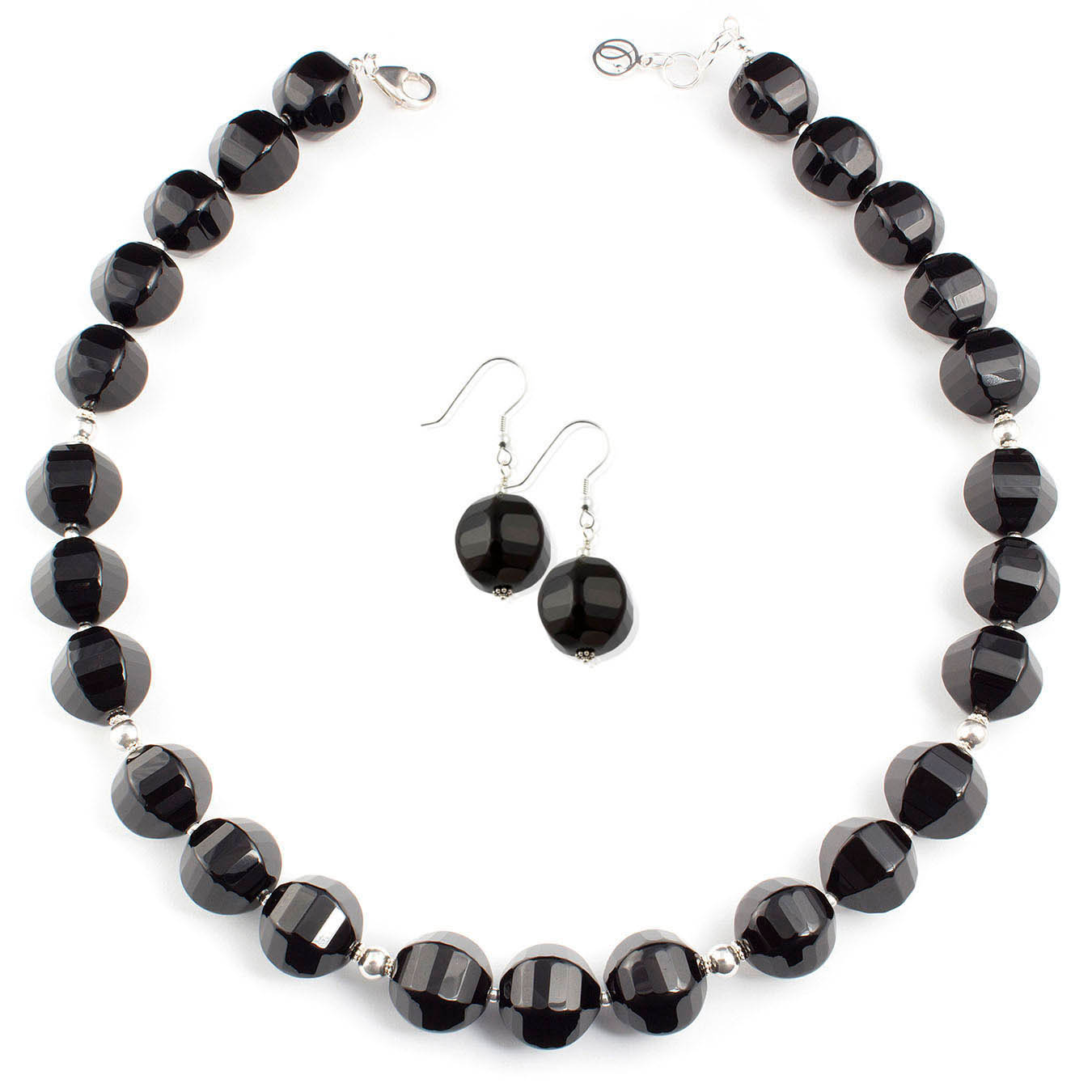 Stone black agate handmade jewelry necklace accented with silver beads