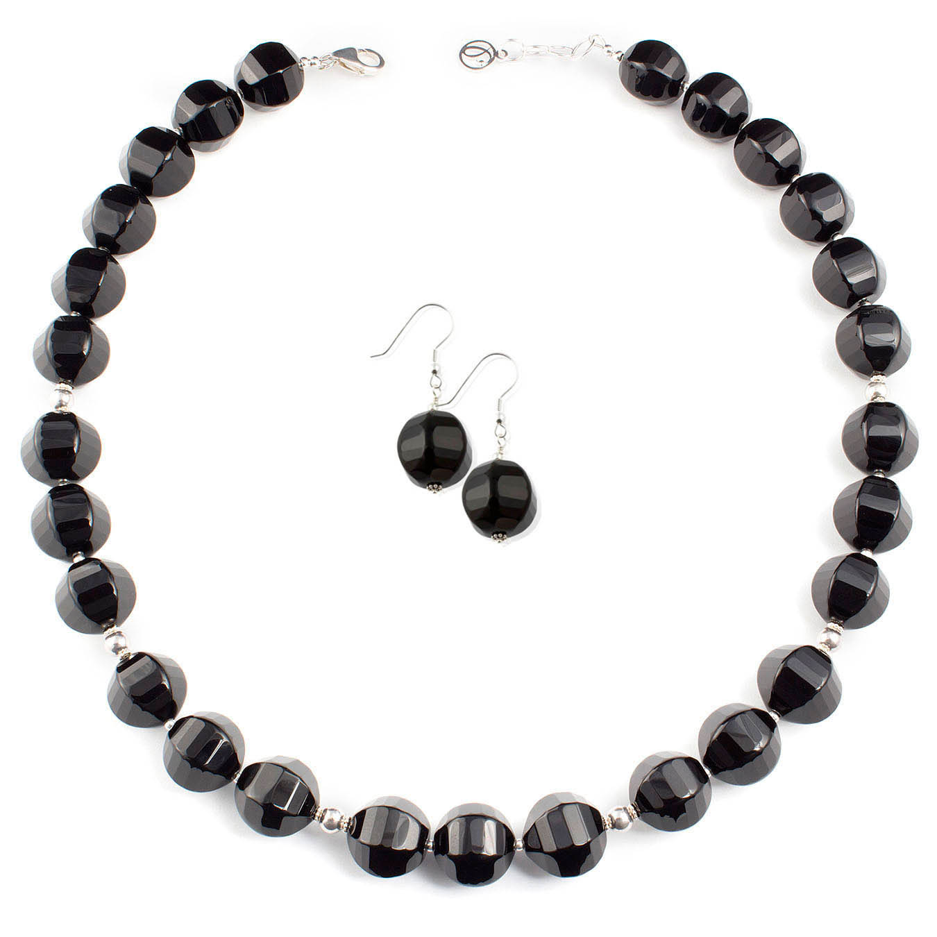 Handcrafted chunky black agate necklace with 925 sterling silver beads