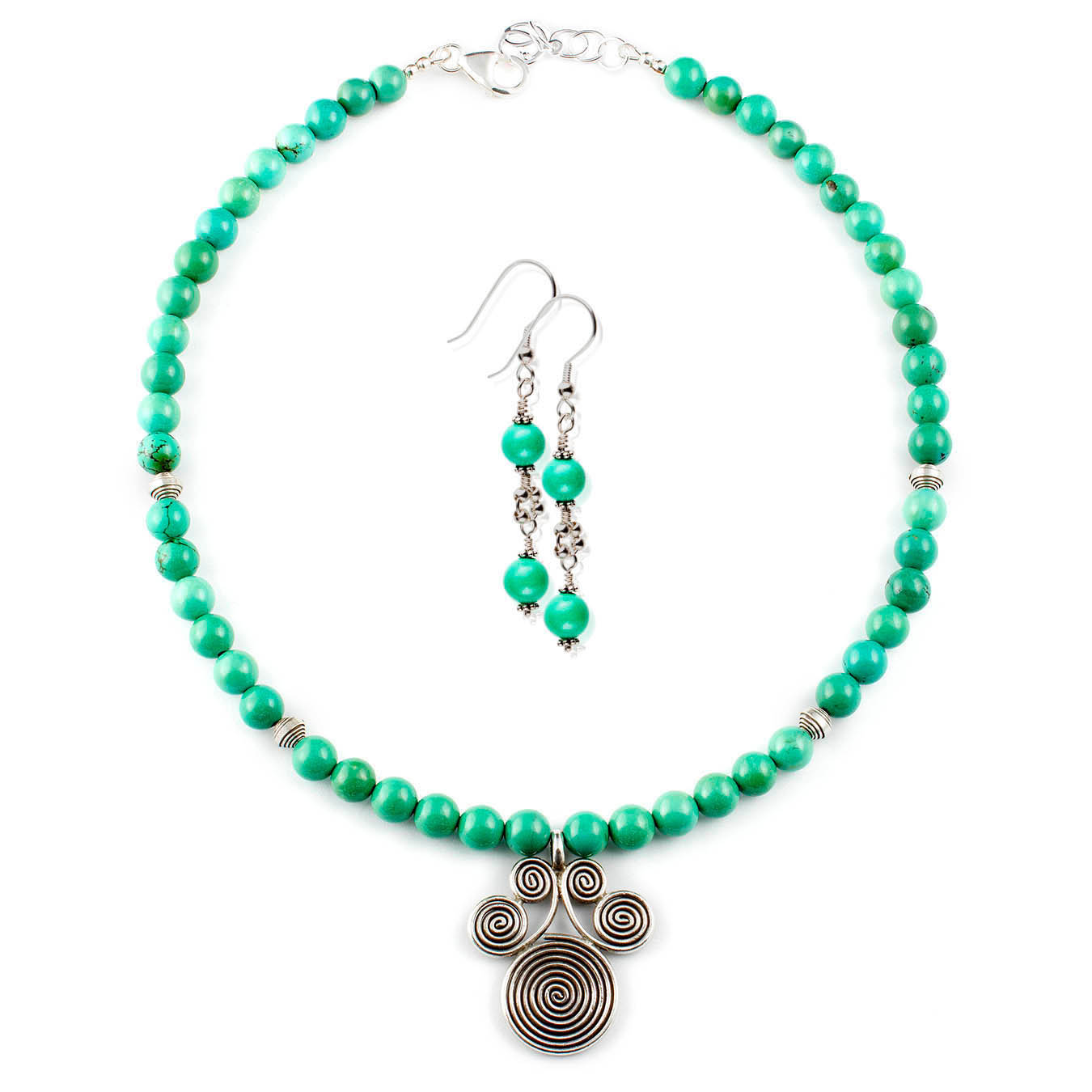 December birthstone necklace set made with turquoise and thai silver