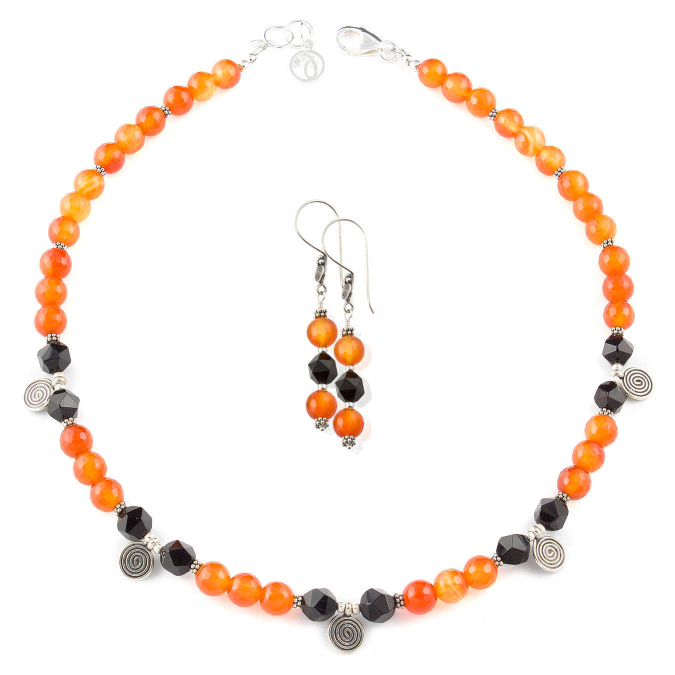 Bali charm necklace set made of faceted black and red agate gemstones