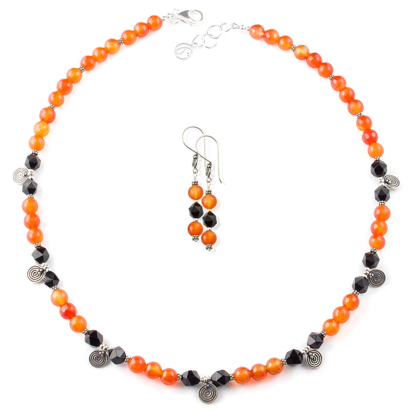 Handmade bali charm jewelry necklace set made of black and red agate