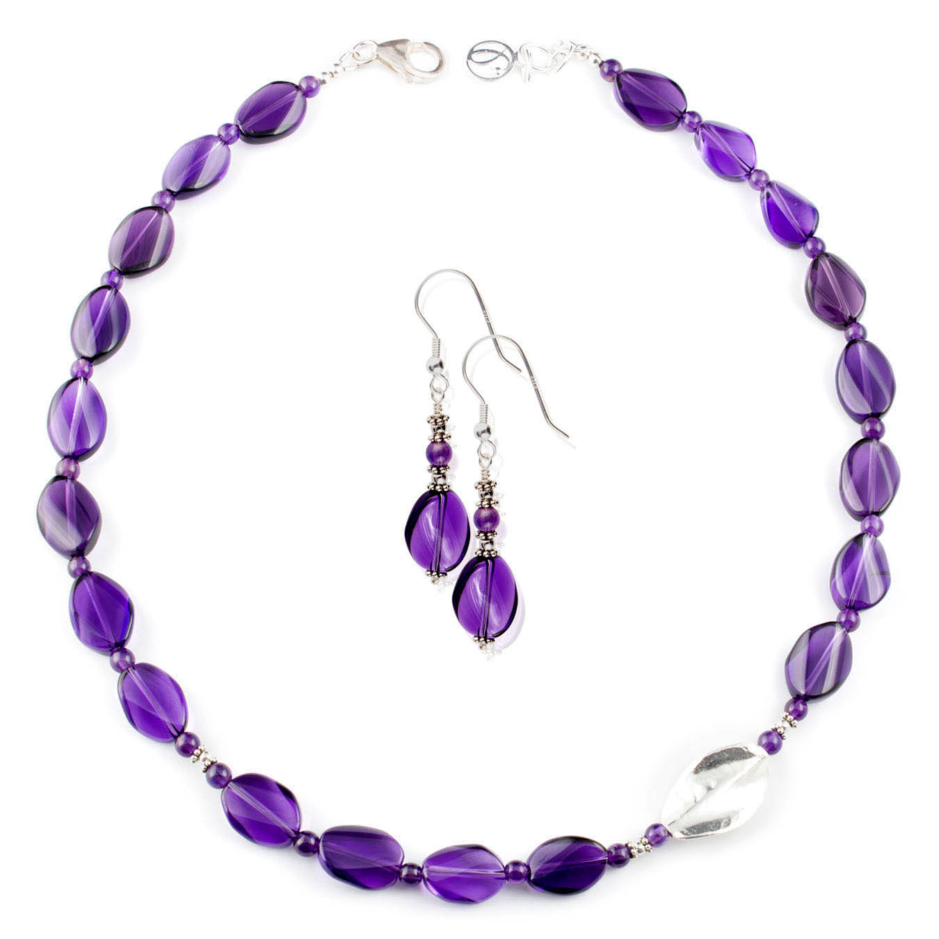 Necklace set made with faceted amethyst and Karen Hill silver bead