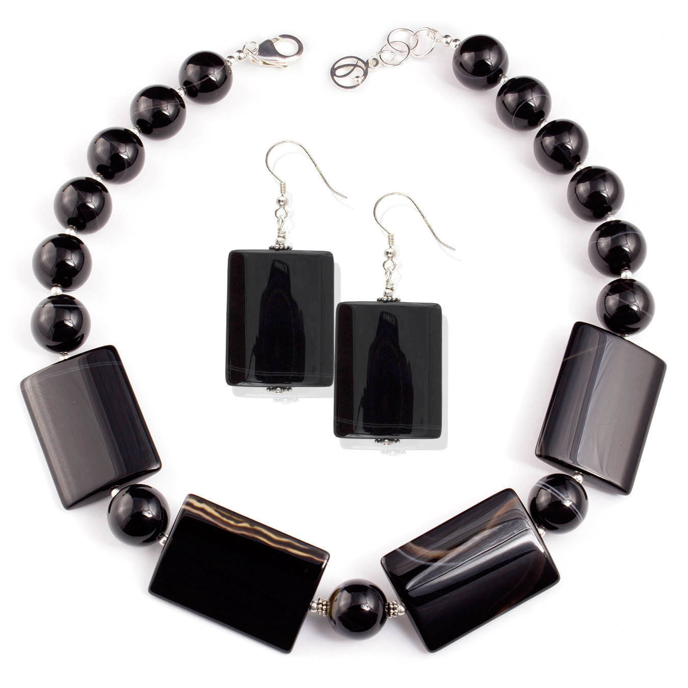 Handcrafted collar jewelry made of black lace agate and silver beads