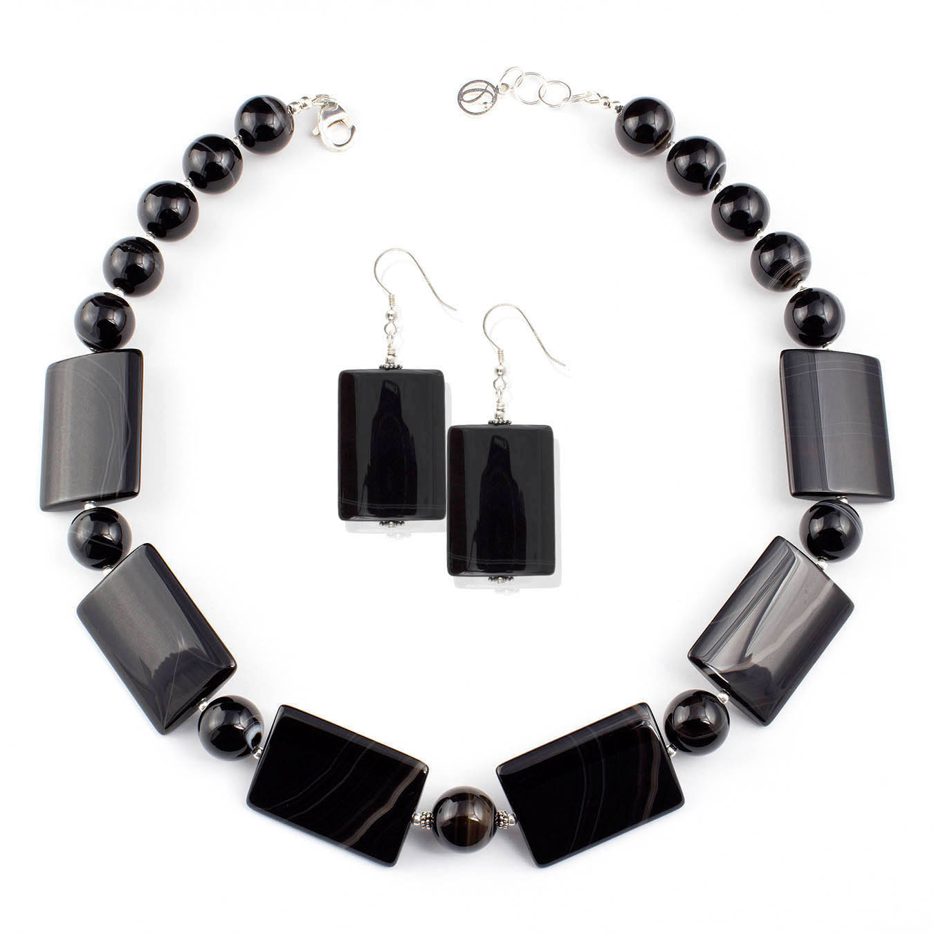 Beaded collar jewelry necklace made with black lace agate stones
