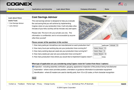 COGNEX Develops an On-Line Tool to Calculate Cost Savings