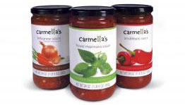 Digitally printed labels convey the brand personality of Carmella's Italian Bistro