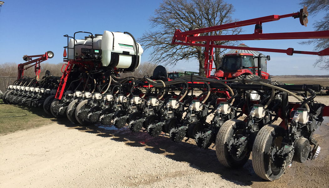 A 24-row planter of Ready Row Units.