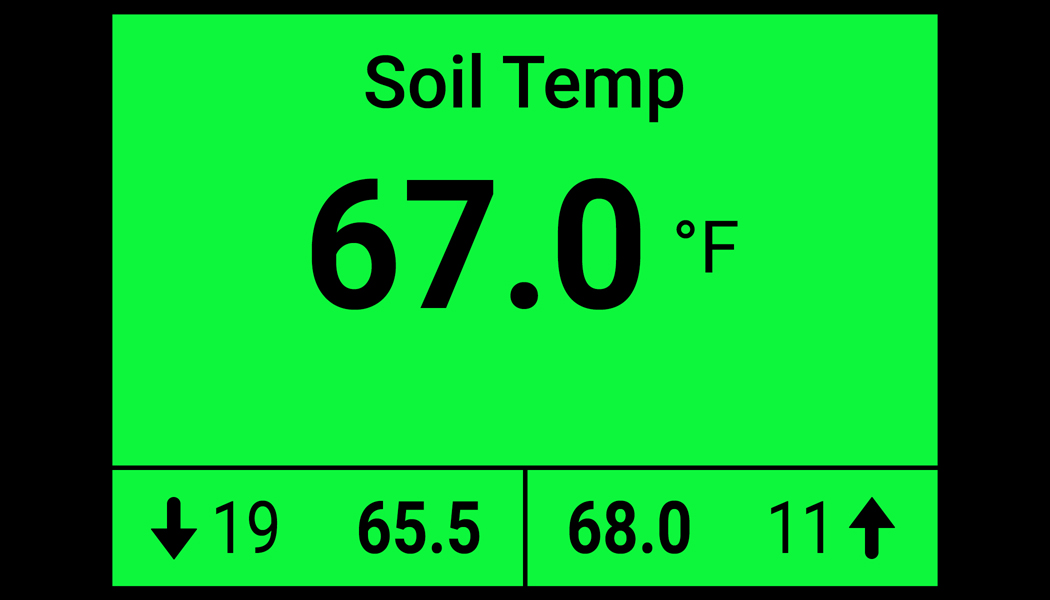 20|20 monitor showing soil temperature.