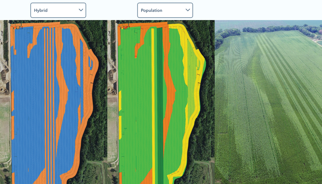 An overlay of the hybrids planted, target populated, and an overhead view of an entire field.