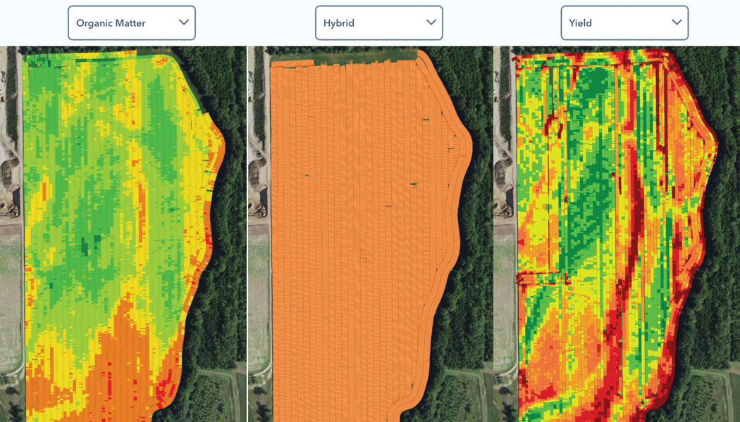 Different overlays of a field showing organic matter, hybrid, and yield.