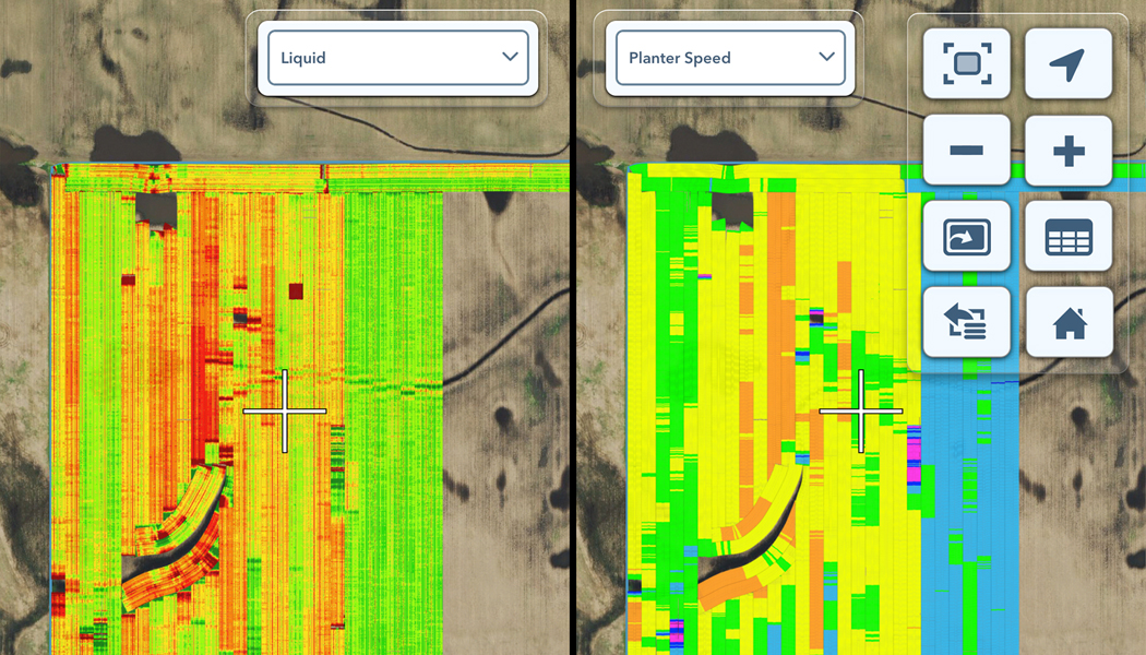 Overlay showing variability in liquid and planter speed in a field.