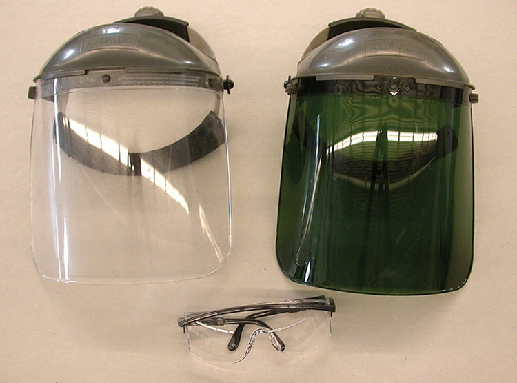 Good eye protection is essential. While safety glasses are good for all-around use, a face shield is better for more hazardous operations such as grinding.
