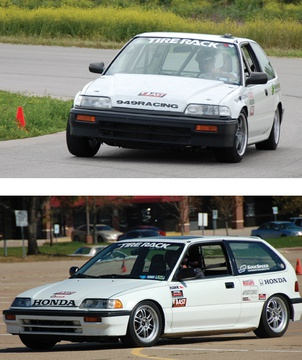 Our autocross testing was done using Scrappy (below), a proven Street Touring Solo Honda. We used something a bit more powerful for our track testing: Sneaky (above), a Civic that packs a punch.
