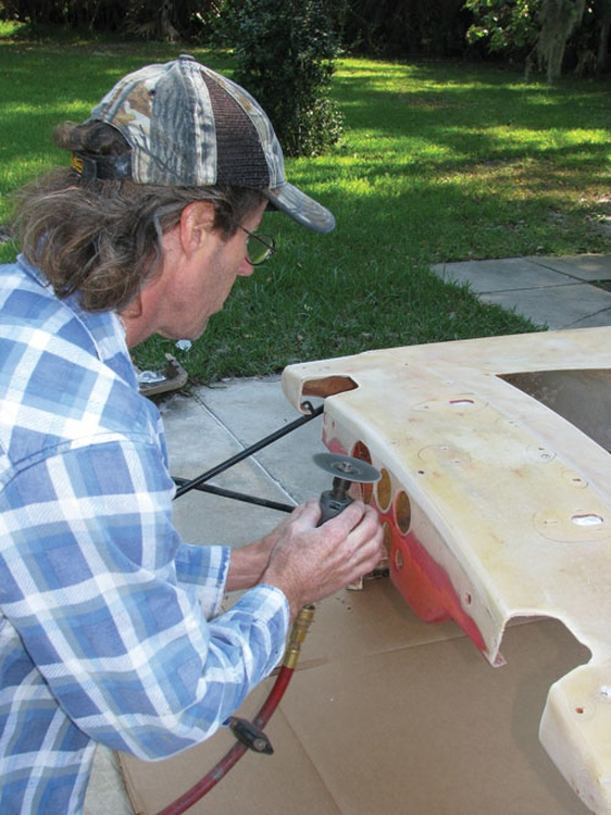 Fiberglass is easy to cut. Damaged or unneeded sections can be quickly  removed with an air-powered cutoff wheel.