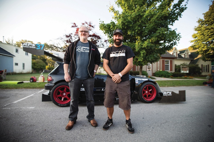 Cody Loveland, on the right, built the Beastie hatch; Aric Streeter now owns the car. Together they have been tweaking and developing the Civic into a worthy competitor.