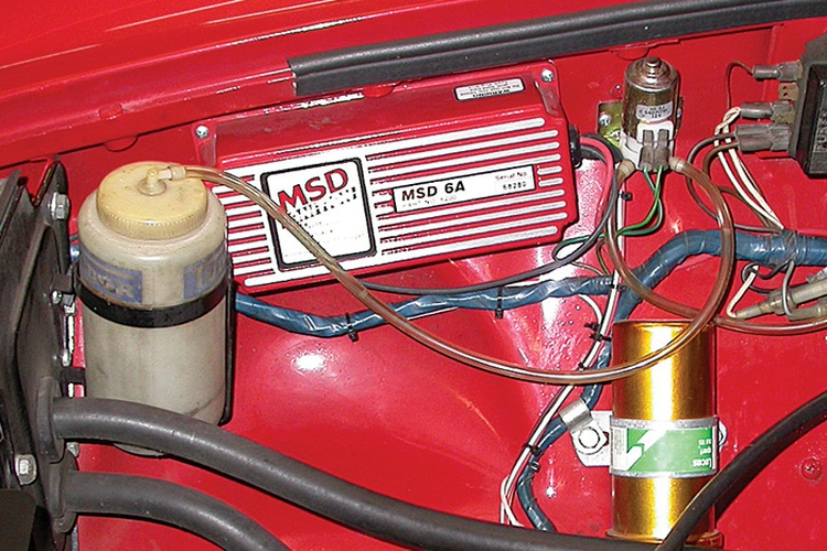 Here is the MSD 6A installed in an MGB. The unit comes with ample wiring to install in any dry, well-ventilated location. We usually mount them on the inner fender well.