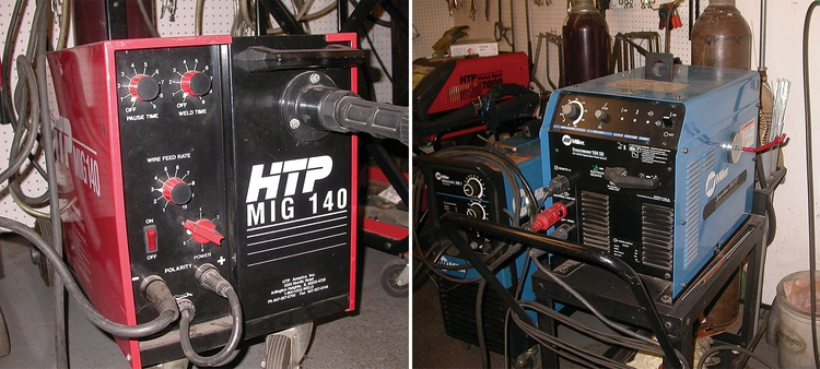 When it comes to home welding, many people gravitate toward MIG units (left). A TIG unit (right) doesn't take up much more space in the shop, but the welding process is a bit more involved.