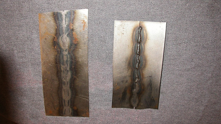 MIG and TIG welds feature different levels of hardness—technically called malleability. The piece on the left was TIG welded and hammered. The one the right was MIG welded and hammered, but cracked.