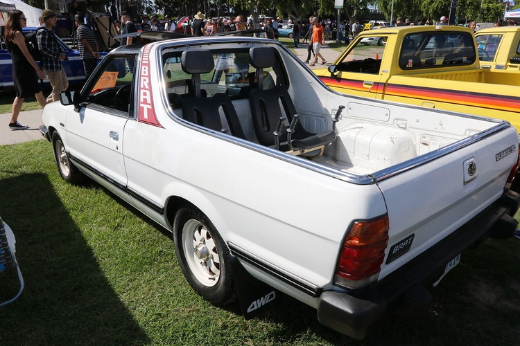1986 Subaru BRAT with Mom-approved tail-gunner seats.