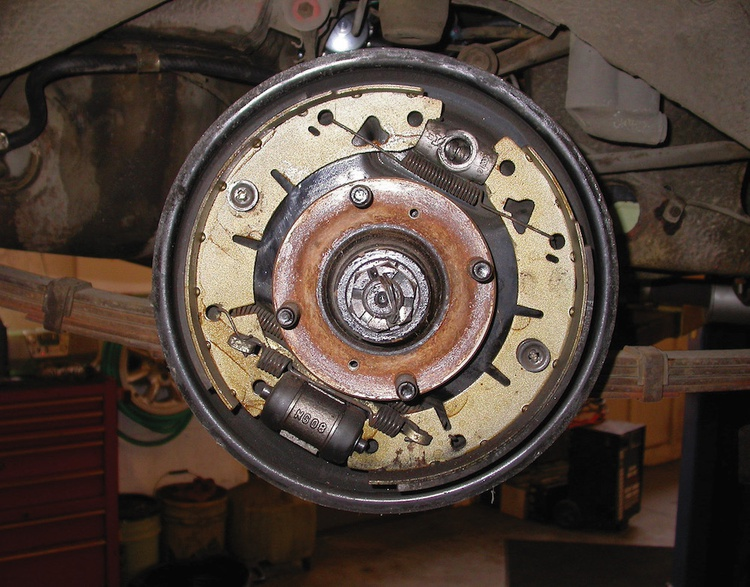 Brake issue? The problem may be something simple: This drum system recently received new shoes and wheel cylinders, but the rear shoe was fitted upside down.