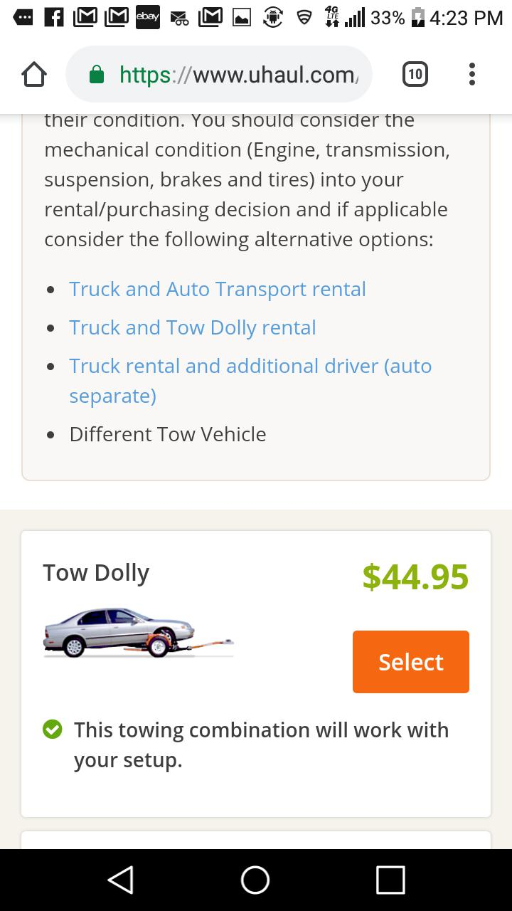 Wanted to borrow: Tow Dolly near Indy| Grassroots
