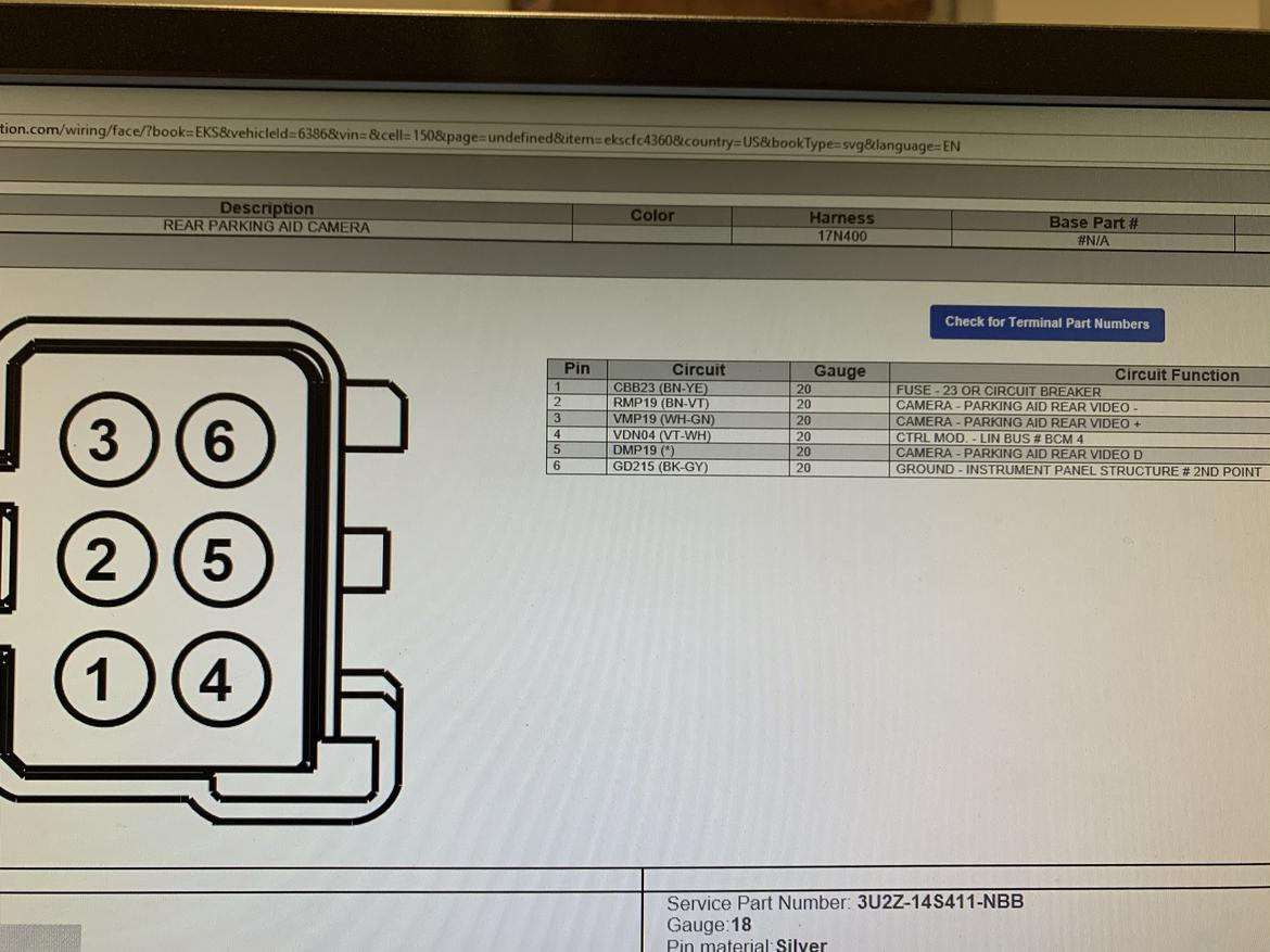 2017 2019 Fusion Back Up Camera Wire Diagram Needed