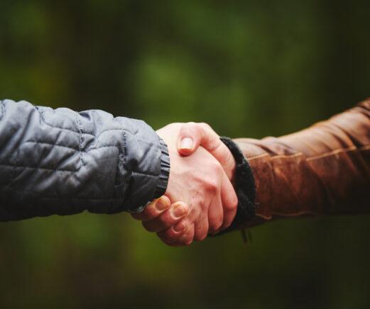 Forester and landowner shaking hands