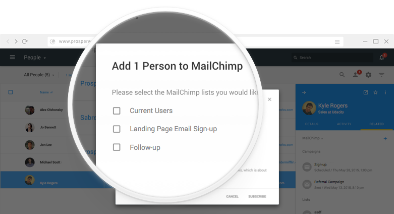 how to integrate MailChimp contacts with Copper CRM