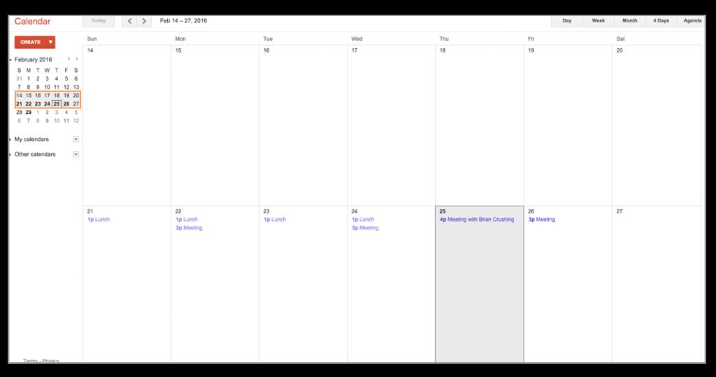 Google Calendar Select View